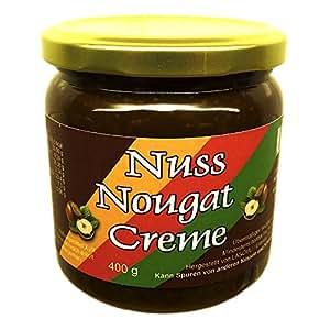 Nuss-Nougat-Creme 400 g (43,7% Haselnüsse), mit Xylit aus Finnland gesüßt, vegan, ohne Zuckerzusatz
