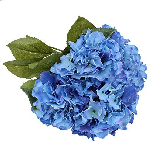 Luyue - 5 grandi fiori artificiali in seta, ortensie, decorazione della casa per matrimoni Dark Blue
