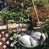 Libx Signo de jardín-decoración de Madera Letrero, Moda Novedad Lindo y Divertido Conejo Resistente a la Intemperie Resina Colgante-para el hogar, Patio, jardín 21x 11x 10cm