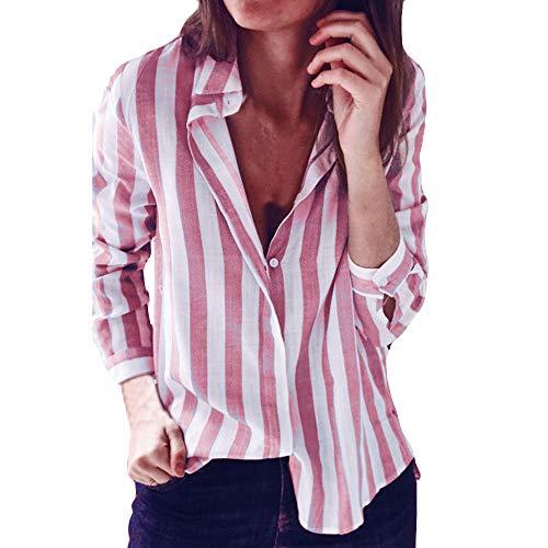 Ombre Gestreiften Hemd (HARRYSTORE V-Ausschnitt Revers Gestreiftes Langärmeliges Hemd Mode Damen Gestreift Bedruckt Casual Top T Shirt Lose Langarm Bluse Funny Ruffle Sleeve Blouses Girls Halterneck T-Shirt (Rosa, XL))
