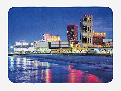 BBABYY City Bath Mat, Resort Casinos on Shore at Night Atlantic City New Jersey United States, Plush Bathroom Decor Mat with Non Slip Backing, 23.6 W X 15.7 W Inches, Violet Blue Pink Yellow