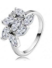 Daesar Joyería Anillo Compromiso de Oro Plata Mujer, Vintage Diamantes Imitación Marquesa En Forma de