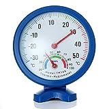Woopower Mini-Zeiger-Thermometer, Hygrometer, Temperatur, Luftfeuchtigkeitsmesser für drinnen und draußen, Analog-Monitor, Babyzimmer, Gewächshaus, Restaurant, Klassenzimmer, Labor, Werkstatt, blau