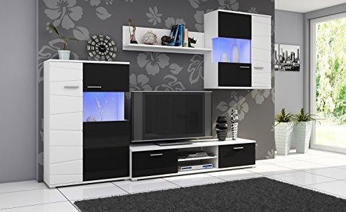 Wohnwand GALAXY, Anbauwand, Wohnzimmer Möbel, mit Beleuchtung