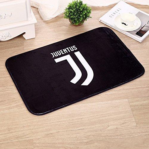WEII Fußball-Verein-Logo-Teppich druckte verdickte Schwamm-Tür-Matten Hauptantirutsch-Matten,Juventus,40 * 60 cm