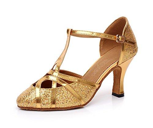 Minitoo qj6133Sandali a Punta Chiusa Tacco Alto in Pelle PU Glitter Salsa Tango Ballroom Latina T-Strap Scarpe da ballo, oro (Gold-7.5cm Heel), 39
