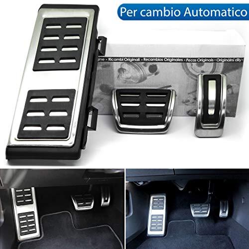 Kit COPRIPEDALI Copri Pedali PEDALIERA SPECIFICO per Audi A3 8V in Alluminio Antiscivolo Stile S-Line, S ACCELLERATORE Freno POGGIAPIEDE per Cambio Automatico DSG S-TRONIC
