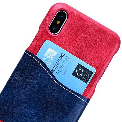 WE LOVE CASE iPhone X Hülle Karten Funktion iPhone X / 10 Hülle Hardcase Grau Handyhülle Tasche für Mädchen Elegant Backcover , Harte Case Handycover Stoßfest Bumper , Ultra Dünn Schale Schlank Schutz Rose red + blue