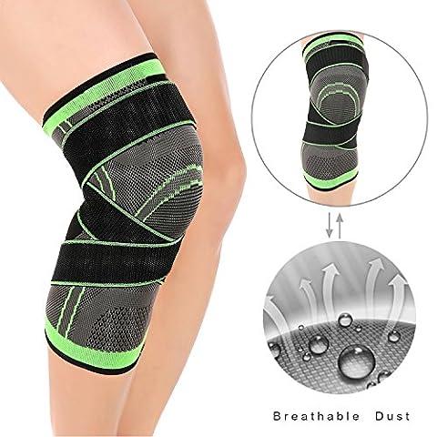 LOKEP Bequeme & atmungsaktive Knie-Klammer, dreidimensionaler Knit, justierbare Kompressionsbügel, 1 Stück für Männer u. Frauen, Trainings-laufendes Basketball (Grün) L (Shin Wrap)