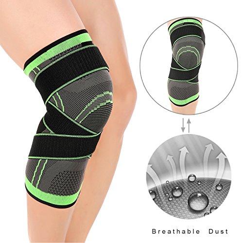 LOKEP Bequeme & atmungsaktive Knie-Klammer, dreidimensionaler Knit, justierbare Kompressionsbügel, 1 Stück für Männer u. Frauen, Trainings-laufendes Basketball (Grün) XL grün (Band-knie-boot)