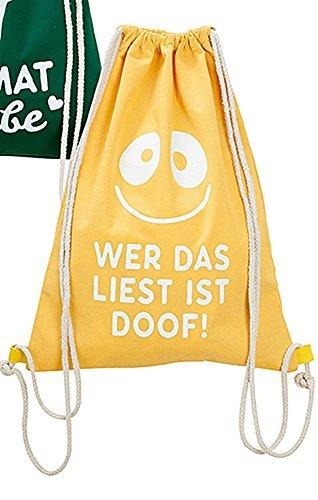 GILDE Textil Beutel Turnbeutel Leuchtbeutel mit Spruch Wer Das liest ist doof!