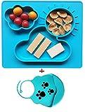 Extra Grande Meal Tovaglietta in silicone Piatti bambino del silicone misura la maggior parte seggiolino Mini Bambino atossico e senza ftalati, non rompere - Con un babero de silicona (blu)