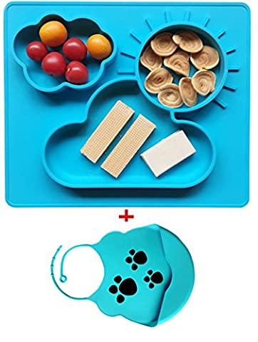 Extra Large Silicone Placemat and Tray &Bowl for Babies Kids Children Safe Non-toxic Food Grade Silicone, Phthalate Free, Not Breakable, With a silicone Bibs (blue)