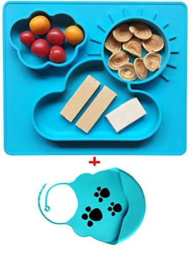 Silikon Tisch-Sets und Tablett, stark Saugnapf für Babys, sicher ungiftig Lebensmittelqualität Silikon, Phthalate frei, nicht zerbrechlichen, leicht clearning