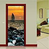 Diy 3d senery holz stahltür aufkleber kreative 3d aufkleber wandbild dekoration sea wharf mit sonnenaufgang wandaufkleber poster 77x200CM