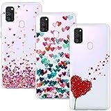 Young Min Cover Compatible per Samsung Galaxy M30s, (3 Pack) Morbido Trasparente Silicone Custodie Protettivo TPU Gel Case, Amore