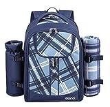 Eono by Amazon - Sac isotherme à dos pour pique-nique pour 4 personnes avec ensemble de vaisselle et couverture