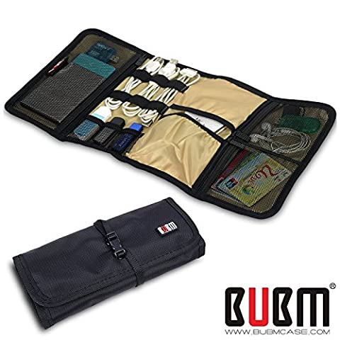 BUBM Portable Universal Wrap Electronics Accessories Travel Organizer Cable Stable Bag for Phone Charger, USB Device Cable Hard Drive, Baby Healthcare Kit - Black