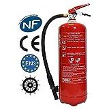 Extintor de 6 litros estándar + apoyo francés + fijación de señalización