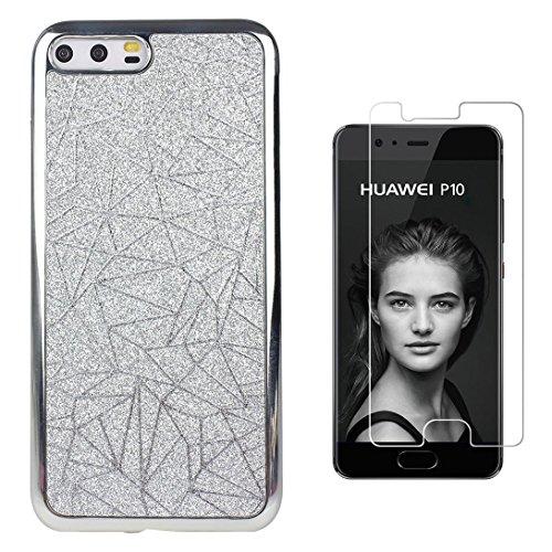 Pheant® [2in 1] Huawei P10 Hülle Glitzer mit Panzerglas (9H Härtegrad,Ultra-klar),Silikon Schutzhülle (Das glitzer Rückseite + Galvanotechnik Stoßrahmen)