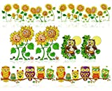 COM-FOUR® 8 Immagini per finestre con Motivi di Girasoli e Gufi, Fogli per finestre Aderenti staticamente, Adesivi per finestre Autunnali (08 Pezzi - Gufo + Girasole)