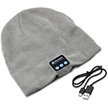 Bluetooth inalámbrico Beanie Knit Hat manos libres tapa de música con micrófono de altavoz auricular para deportes al aire libre Esquí Correr regalos de Navidad (Grey)