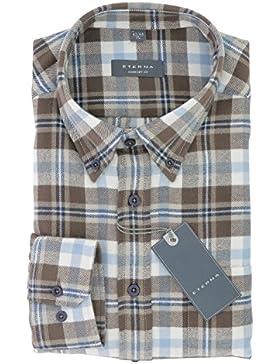 ETERNA Herren Flanell Hemd mit Button-Down Kragen Comfort Fit Gr. M Braun Blau