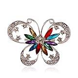 Stockton 1X Mode Élégant Diamant Papillon De Mariage Broche De Mariée Pin Strass Couvert Écharpes Châle Clip Pour Les Femmes De S Bijoux (Coloré)