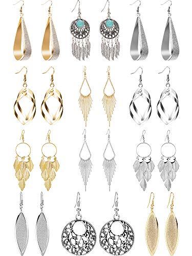 12 Paar Tropfen Baumeln Ohrringe Goldene Silberne Modeschmuck Fransen Quaste Charakter Übertrieben Ohrringe Set für Damen Mädchen (Stil B)