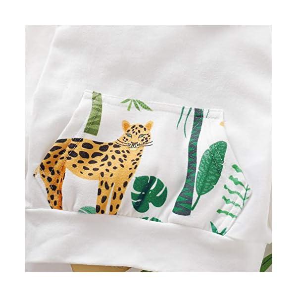 Kfnire [Conjunto de 2 piezas] Sudadera con capucha de leopardo + Pantalones Para Bebé 5
