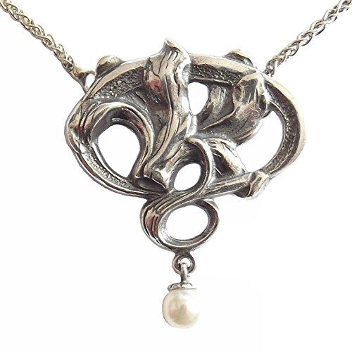 Damen Jugendstil Halskette 925 Sterlingsilber Perle