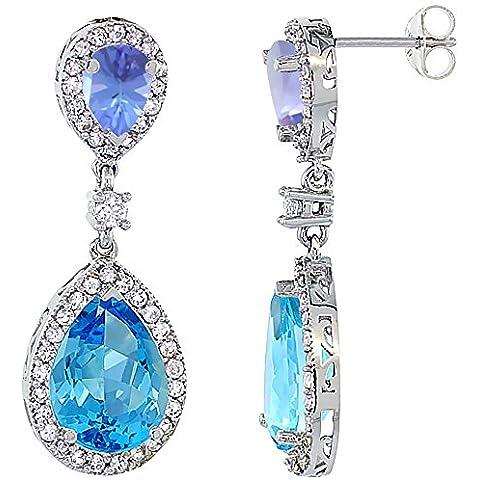 Oro bianco 14 k con topazio blu Svizzera &-Orecchini con pendente a goccia con zaffiro e Tanzanite & Diamond, colore: bianco - 14k Oro Bianco Tanzanite Goccia