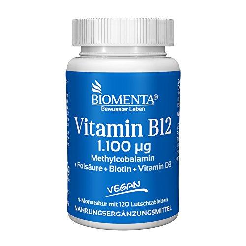 BIOMENTA VITAMIN B12 HOCHDOSIERT & VEGAN | 1.100 mcg Methylcobalamin + Vitamin D3 + Biotin + Folsäure | 4 MONATSKUR | 120 Vitamin-B12-Lutschtabletten