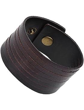 Urban Jewelry breiter dunkelbraun Manschette Echt Leder Armband für Herren