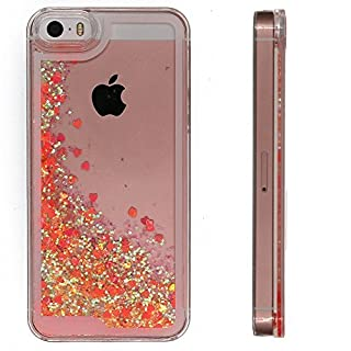 iPhone SE Case, iPhone 5S Liquid Quicksand Bright Rose Gold Red Bling Love Heart Case, Adorable flowing Floating Moving Shine Glitter Hard PC Case for iPhone5 5S and iPhone SE (Bling Asaka red)