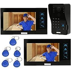 KKmoon 7 Inch Intercom Sonnette Visuelle de Porte Video Interphone Cartes Vision Nocturne Bouton d'identification / Code de Déverrouillage CCTV 1000TVL Caméra de Sécurité Surveillance TP02S-12