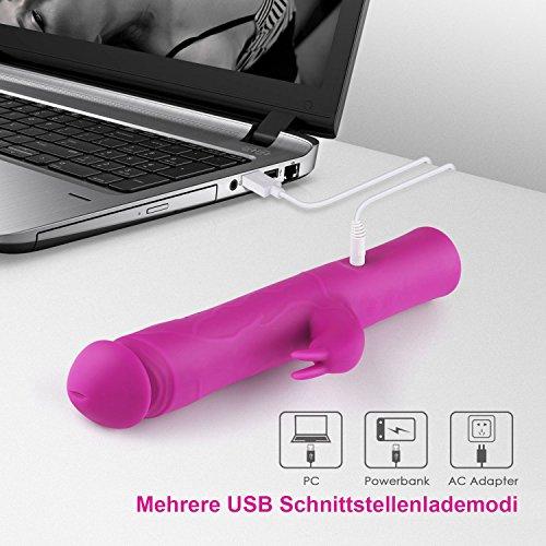 ASTER Vibrator Rabbit Vibratoren für sie Klitoris und G-punkt Stimulation 100% Wasserdicht mit stoßfunktion dualer Motor 7 Frequenzschwigung Medizinisches Silikon 360-Grad-Drehung und USB-Ladedesign, leise (25cm) - 3