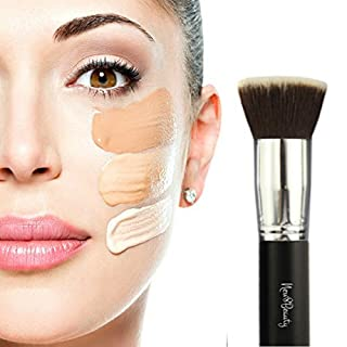 Best Foundation Brush Flat Top Kabuki Synthetic Face Brush Applicator Blender - For Liquids, Creams, Contour, Powders, Mineral, Makeup - Synthetic Bristles By New8Beauty