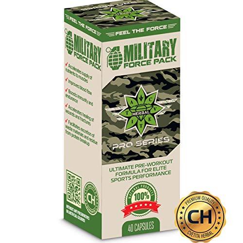Military Force Pack - 1110 MG X 40 Capsules - Arginine AAKG, L Carnitine Tart Rate, Estratto di radice di leuzea, estratto di ginseng siberiano, estratto di tè di mursal, estratto di tè verde