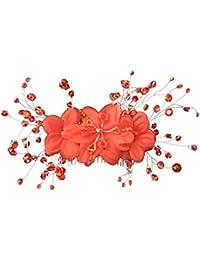 Joyería Nupcial Roja de Flor de Pelo de Peine