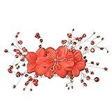 Peigne de Cheveux Décoratif en Strass Bijoux de Mariage Mariée Fleur Rouge