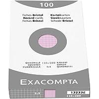 Exacompta 13233E Etui refermable de 100 fiches bristol - quadrille 5x5 non perforée 125x200mm ROSE