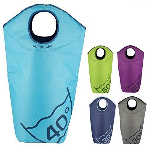 tempracell - Cestos para la colada plegables - saco para la colada - bolsa de lavanderia - cesta de ropa - tacín (azul claro)