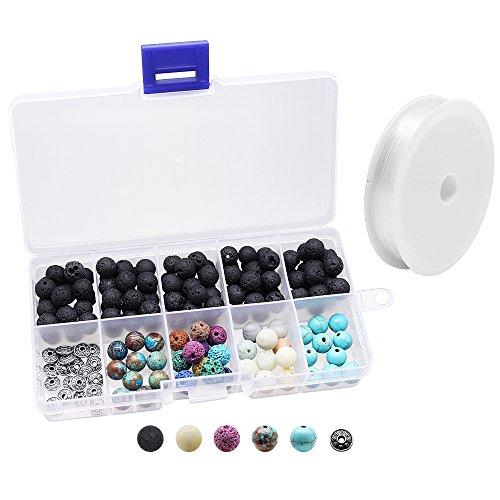 hysagtek 160pcs Lava Stones Rock Perlen Energy Stone + verschiedene Edelsteine Rund Lose Perlen mit Kristall Elastischer Kordel für ätherischen Ölen macht Zubehör DIY Armband, 14mm