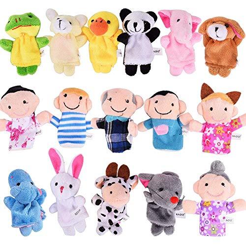 Delibest finger puppets set 16pz -10animali e 6persone familiari story time velvet burattini giocattoli per bambini scuola playtime show gift