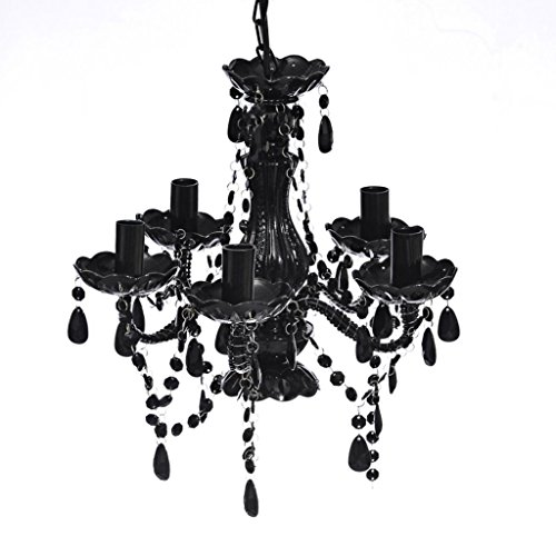 vidaXL Kronleuchter 5 Flammig Glas Acryl Lüster Vintage Style schwarz