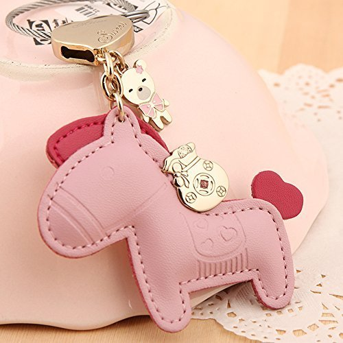 eBuy Milesi?100% Genuine Leather Cute Luxury Horse Bear Trinket / Purse Charm/ Key Chain - Pink by E&B