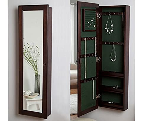 HLC Wood Wall Mounted Locking Wooden Jewellery Mirror Armoire -14.5W