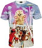 PIZOFF Männer T-Shirt Sommer-Rundhalsausschnitt Kurze Ärmel Katze Muster in Mode Spaß schlank Hip-Hop-Persönlichkeit Bequeme beiläufige Unisex-Tops Y1625-48-XXL