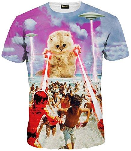 PIZOFF Männer T-Shirt Sommer-Rundhalsausschnitt Kurze Ärmel Katze Muster in Mode Spaß schlank Hip-Hop-Persönlichkeit Bequeme beiläufige Unisex-Tops Y1625-48-XXL Y1625-48-XXL-P
